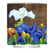 White And Purple Petunia And Marigolds Shower Curtain