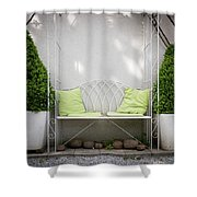 White Bench Made Of Iron With Two Green Bushes On The Side Shower Curtain