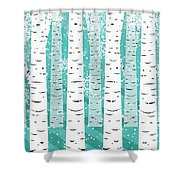 White Birch And Snow Shower Curtain