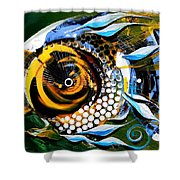 White Headed Mouth Fish Shower Curtain