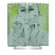 White Lace And Green Eyes Shower Curtain