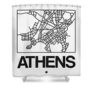 White Map Of Athens Shower Curtain