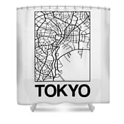 White Map Of Tokyo Shower Curtain