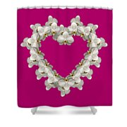 White Orchid Floral Heart Love And Romance Shower Curtain by Rose Santuci-Sofranko