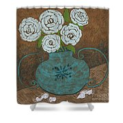 White Roses In Teal Vase Shower Curtain