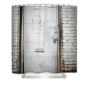 White Steel Factory Door Chinatown Washington Dc Shower Curtain by Edward Fielding
