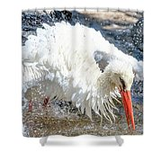 White Stork Fishing Shower Curtain