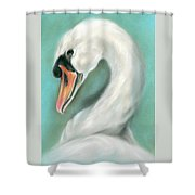 White Swan Portrait Shower Curtain by MM Anderson