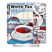 White Tea In Blue And White Shower Curtain