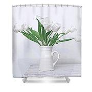 White Tulip Love Shower Curtain by Kim Hojnacki