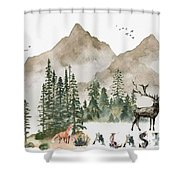 Wild Alaska Travel Poster Shower Curtain by Celestial Images