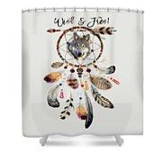 Wild And Free Wolf Spirit Dreamcatcher Shower Curtain
