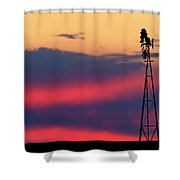 Windmill At Sunset 07 Shower Curtain by Rob Graham