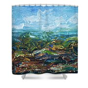 Windy Day In The Grassland. Original Oil Painting Impressionist Landscape. Shower Curtain