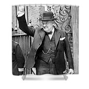 Winston Churchill Showing The V Sign Shower Curtain