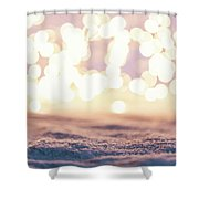 Winter Background With Snow And Fairy Lights. Shower Curtain