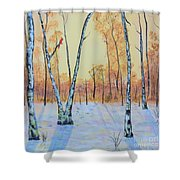 Winter Birches-cardinal Left Shower Curtain
