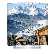 Winter Landscape On The Italian Dolomites Shower Curtain