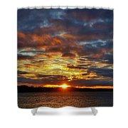 Winter Sunset Over Grand Island Shower Curtain
