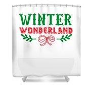 Winter Wonderland Christmas Secret Santa Snowing On Christmas Shower Curtain