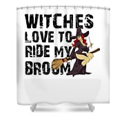 Witch Broom Funny Pun Naughty Halloween For Men Light Shower Curtain