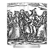 Witches Dancing With The Devil, Illustration From Compendium Maleficarum Shower Curtain