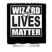 Wizard Lives Matter Retro Halloween Sorcerer Dark Shower Curtain
