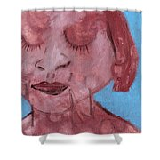 Woman And Blue Background Shower Curtain