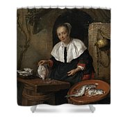 Woman Cleaning Fish Shower Curtain