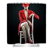 Woman In Red Shower Curtain