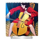Woman Playing Cello - Bereny Robert Study Shower Curtain