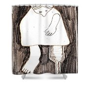 Woman With A Wooden Leg Drawing Shower Curtain