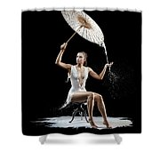Woman With Milk Dress Shower Curtain