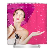 Woman With Umbrella Shower Curtain