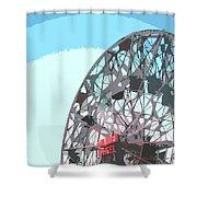 Wonder Wheel On Blue Shower Curtain