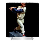 Wood Carving - Ted Williams 001 Black Background Shower Curtain