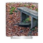 Wooden Autumn Bench Shower Curtain by Scott Lyons