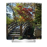 Wooden Bridge In Japanese Garden Shower Curtain by Jemmy Archer