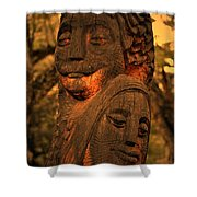 Wooden Couple Shower Curtain