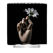 Wooden Hand Holding Flower Shower Curtain