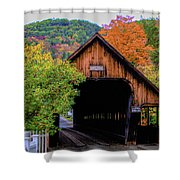 Woodstock Middle Bridge In October Shower Curtain by Jeff Folger