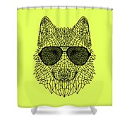 Woolf In Black Glasses Shower Curtain