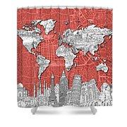 World Map Landmarks Skyline 3 Shower Curtain