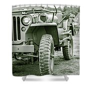 World War II Era Us Army Jeep Shower Curtain