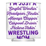 Wrestling Singlet Washin Mom Purple Gift Dark Shower Curtain