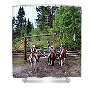Wyoming Cowgirl Trio Shower Curtain