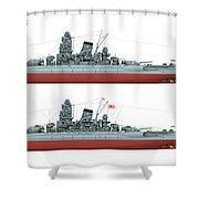 Yamato Class Battleships Port Side Shower Curtain