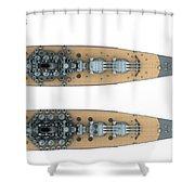 Yamato Class Battleships Top View Shower Curtain