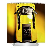 Yellow And Black Shower Curtain