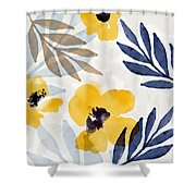 Yellow And Navy 3- Floral Art By Linda Woods Shower Curtain